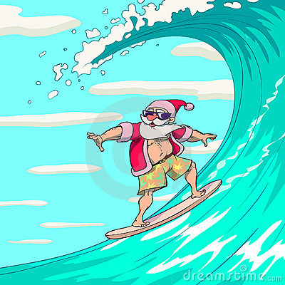 Surfing Santa Claus Royalty Free Stock Photo - Image: 17397245