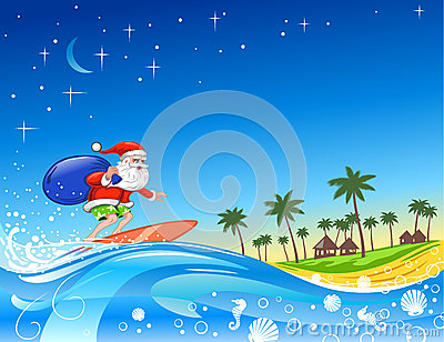 Surfing Santa with Gifts