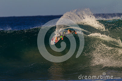 Surfing Speed Carve Wave  Editorial Photography