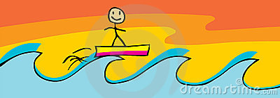Surfing Stick Figure