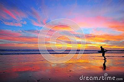Surfing on sunset