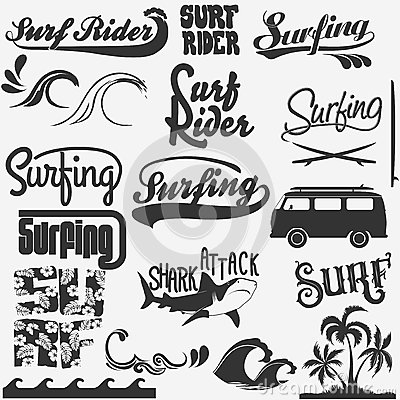 surf lettering t shirt elements set graphic design surfing print stamp collection surfers wear typography emblem creative design vector
