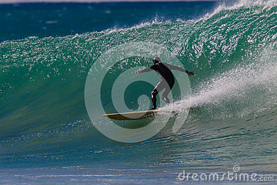 Surfing Veteran Fun Wave Editorial Stock Photo