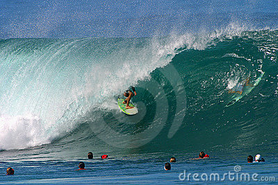 Surfing a Wave at Pipeline