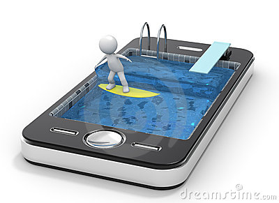 Surfing with your Mobile Phone. 3D little human ch