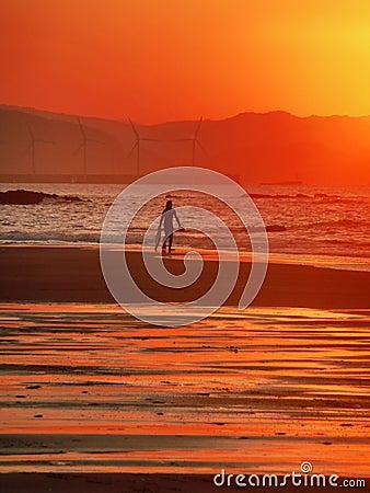 Surfista con un bordo di boogie