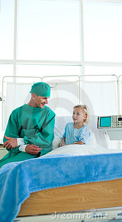 Surgeon discussing a patient case history