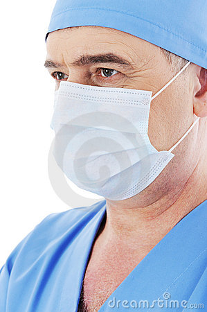 Surgeon with mask on his face