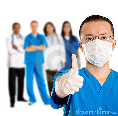Surgeon with thumbs up