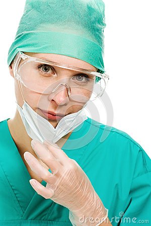 Free Surgeon Woman In Protective Glasses And Mask Royalty Free Stock Photos - 29367958