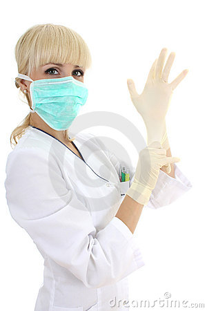 Surgeon woman in mask and rubber gloves over white