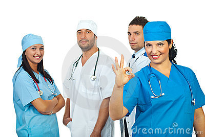 Surgeon woman showing okay sign