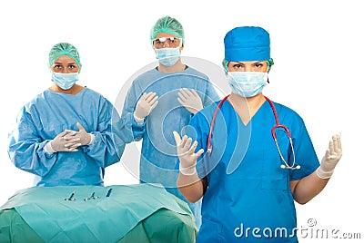 Surgeons team preparing for  surgery