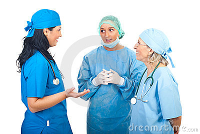 Surgeons women team having conversation