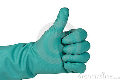 Surgical glove thumbs up