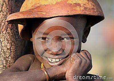Suri boy with calabash Editorial Stock Image