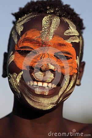 Suri boy with face painting Editorial Photography