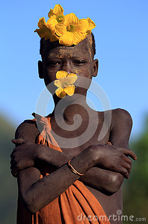 Suri girl with flower decoration Editorial Photography