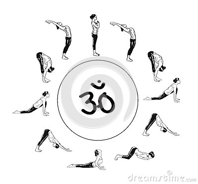 Woman Sun Salutation Yoga Surya Namaskar Cobra Royalty Free Stock ...