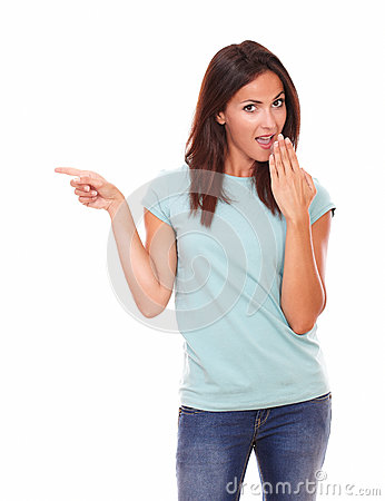 Free Surpriesed Adult Lady Pointing To Her Right Royalty Free Stock Photos - 43330358