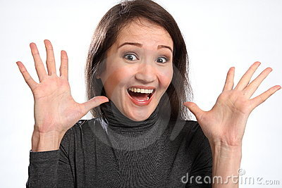 Surprise big excited expression from young woman