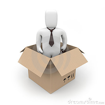 Surprise. Businessman in a box