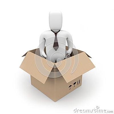 Surprise. Businessman in a box