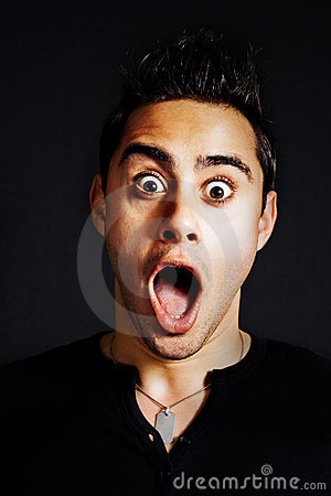 Surprise concept - amazed funny young man