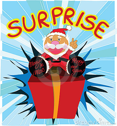 Surprise Gift With Santa Cartoon Design Stock Photos - Image: 15421553