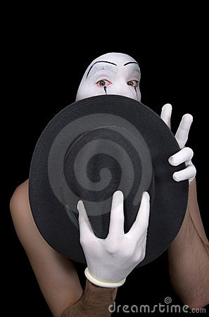 Surprise mime with a hat