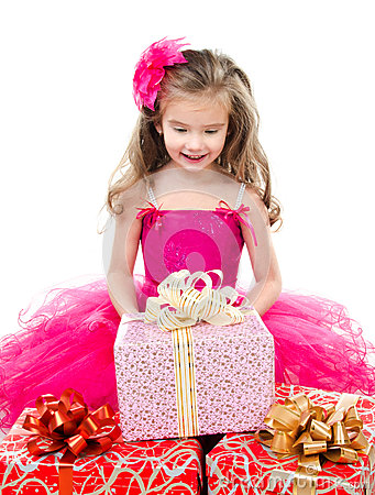 Free Surprised Adorable Little Girl With Christmas Gift Boxes Stock Images - 46132374
