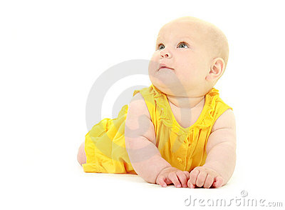 Surprised baby girl portrait