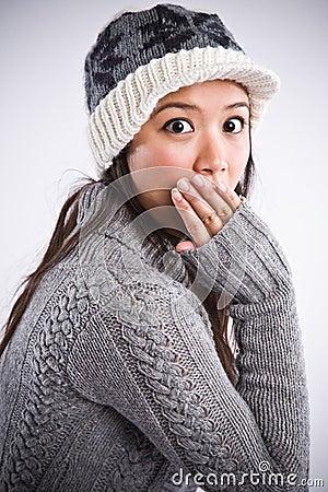 Surprised beautiful asian woman
