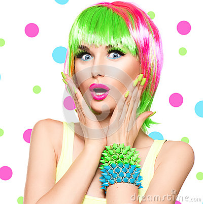 Free Surprised Beauty Model Girl With Colorful Dyed Hair Stock Images - 58339984