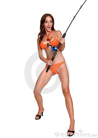 Surprised Bikini Fisherwoman