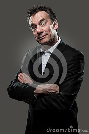 Surprised Business Man in Suit High Contrast