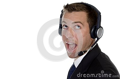Surprised businessman with headphone