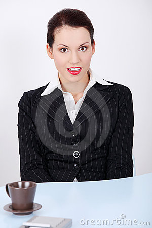 Surprised businesswoman