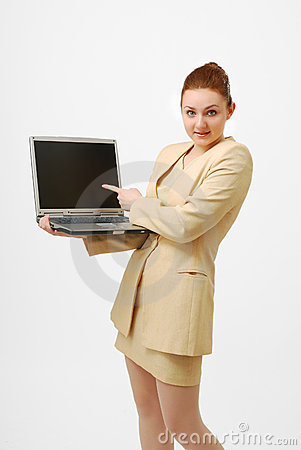 Surprised businesswoman with open notebook PC.