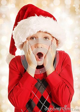 Surprised Christmas boy