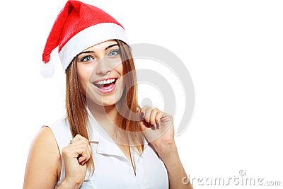 Surprised christmas woman