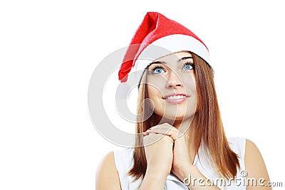 Surprised christmas woman