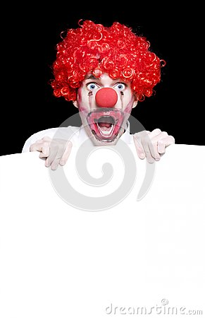 Surprised Clown Holding Blank Copyspace Sign Board