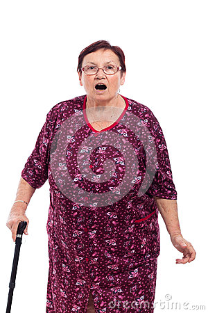 Surprised elderly woman