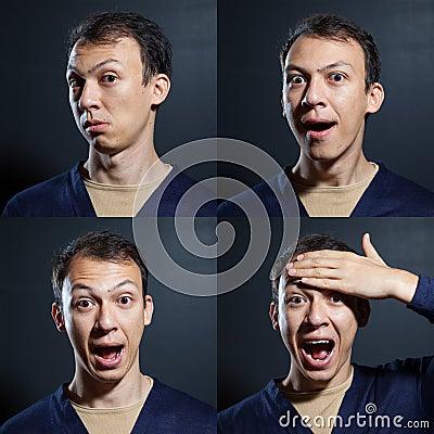 Surprised emotions man