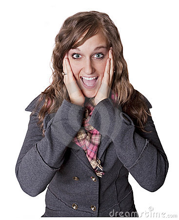 Surprised and Excited Young Woman