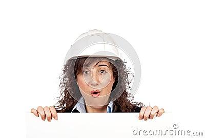 Surprised female architect