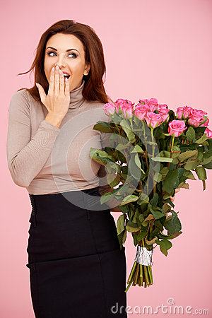 Surprised with flowers