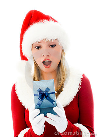 Surprised girl opening a Christmas present