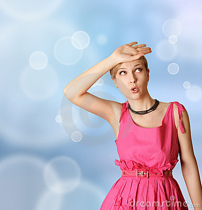 Surprised girl in pink